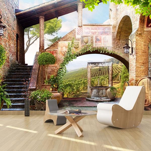 papier peint vinyle ancienne maison de champ. Black Bedroom Furniture Sets. Home Design Ideas