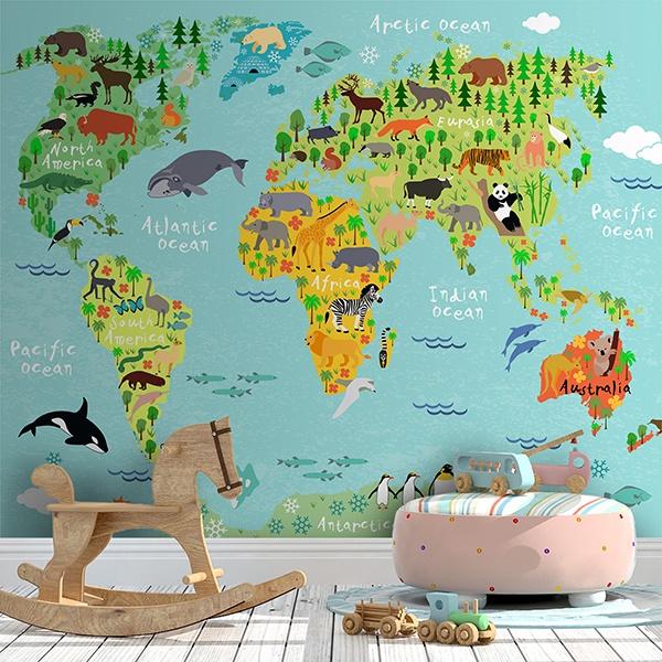 Poster Xxl Carte Du Monde Des Enfants Et Des Continents Webstickersmuraux Com