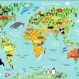 Papier peint vinyle: Carte du monde pour enfants 2 2
