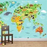 Papier peint vinyle: Carte du monde pour enfants 2 3