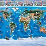 Papier peint vinyle: Carte mondiale des drapeaux des enfants 2