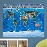 Papier peint vinyle: Carte mondiale des drapeaux des enfants 3