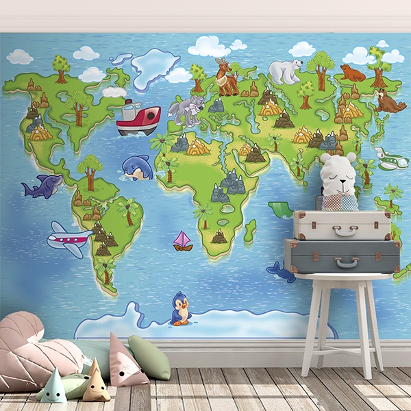 poster xxl carte du monde des animaux. Black Bedroom Furniture Sets. Home Design Ideas