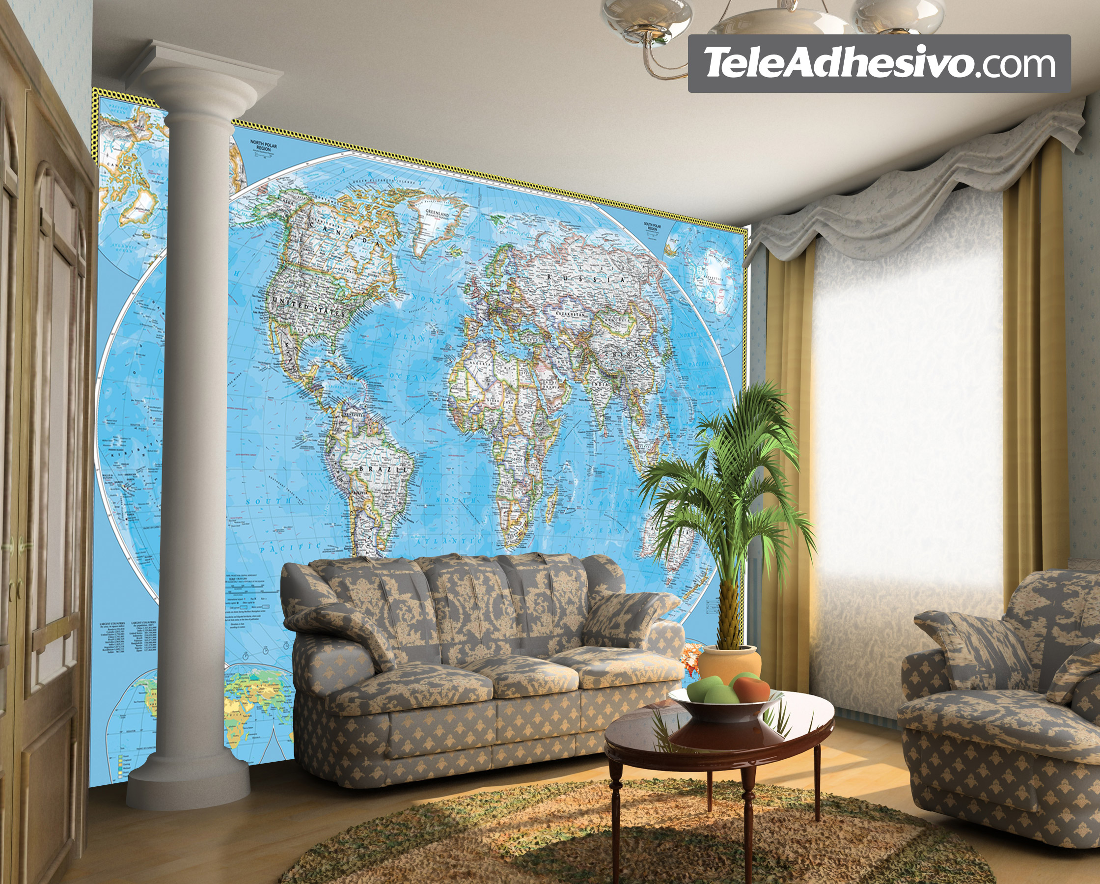 poster xxl carte du monde politique mondiale. Black Bedroom Furniture Sets. Home Design Ideas
