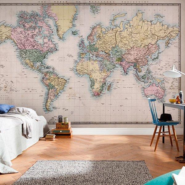 Posters xxl des cartes du monde webstickersmuraux - Mural mapa mundi ...