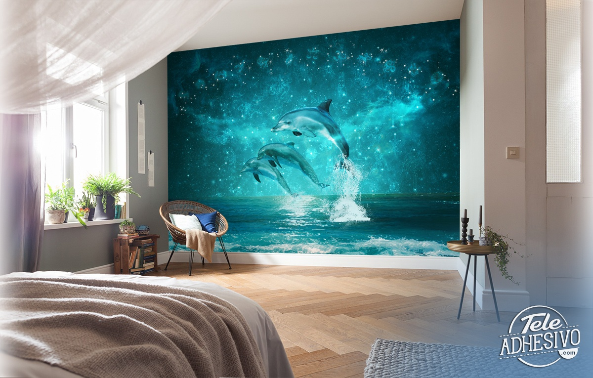 Poster xxl: Dauphins et constellations