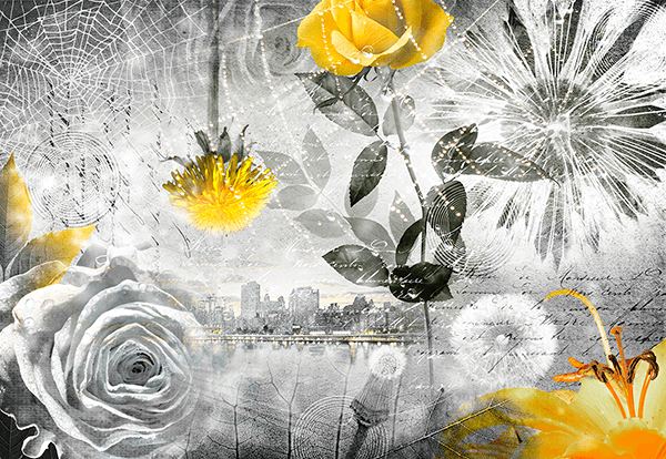 Poster xxl: Collage floral ville