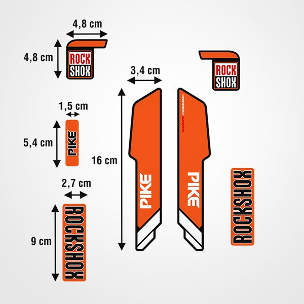 Autocollants: Fourches de vélo Rock Shox Pike en orange