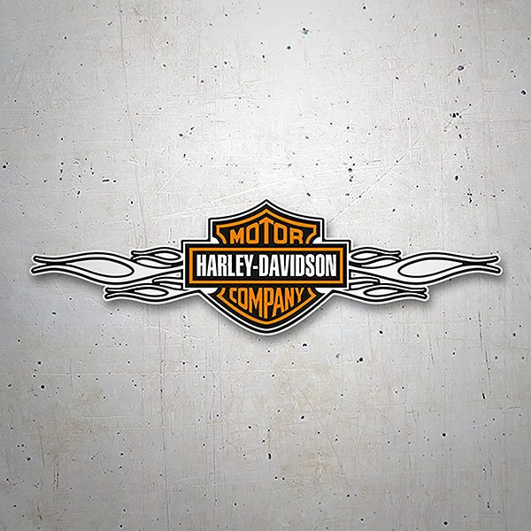 Autocollants: Harley Davidson flammes blanches