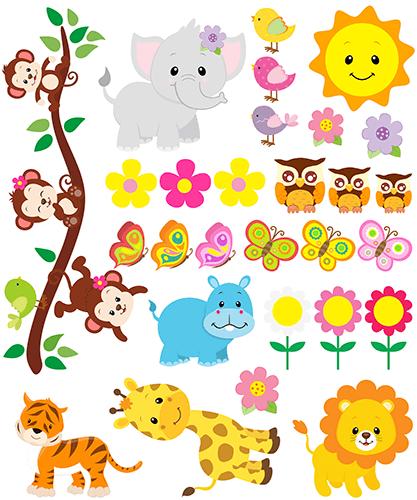 kit stickers muraux pour enfants animaux de la jungle. Black Bedroom Furniture Sets. Home Design Ideas