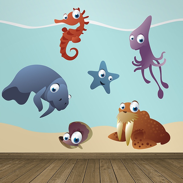 Stickers pour enfants: Kit Aquarium Marin
