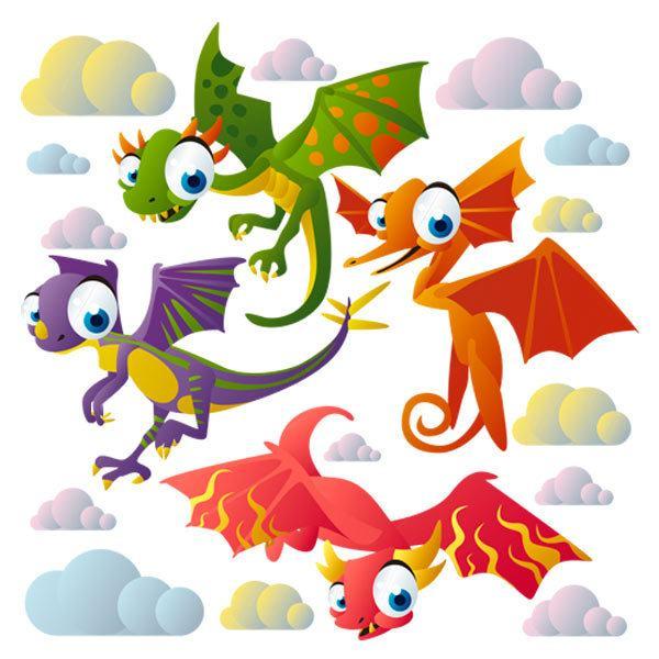 Sticker mural enfant kit dinosaures volants - Dinosaur volant ...