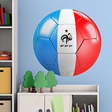 Stickers muraux: Ballon de football drapeau de la France