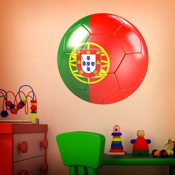 Stickers muraux: Ballon de football drapeau du Portugal