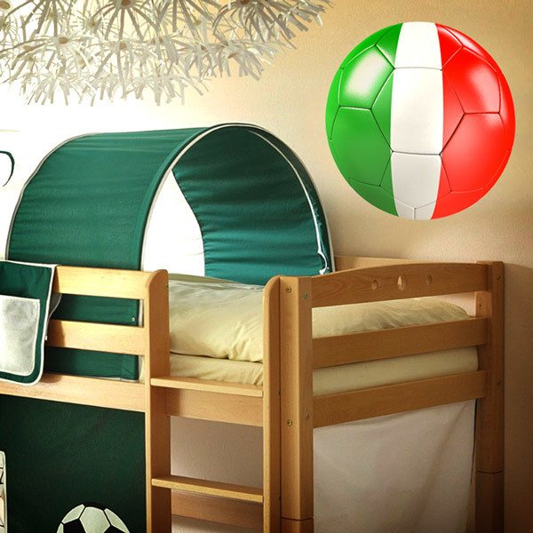 Stickers muraux: Ballon de football drapeau de l'Italie