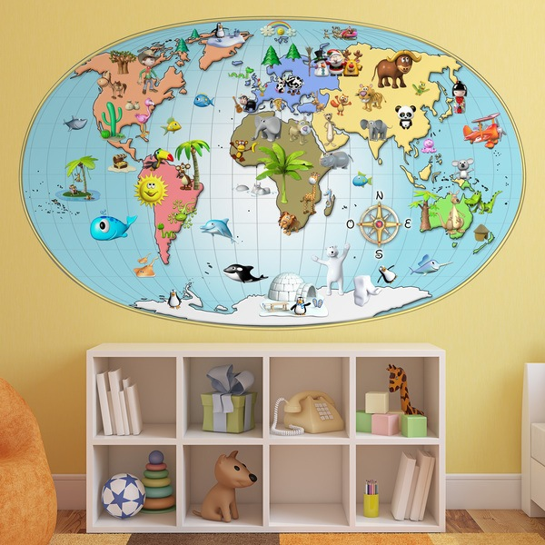 Stickers muraux: Carte du monde animée en 3D
