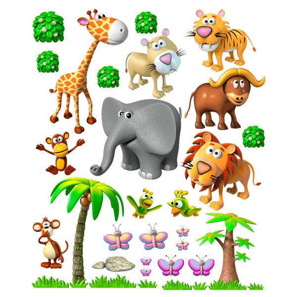 sticker mural enfant animaux de la jungle africaine. Black Bedroom Furniture Sets. Home Design Ideas