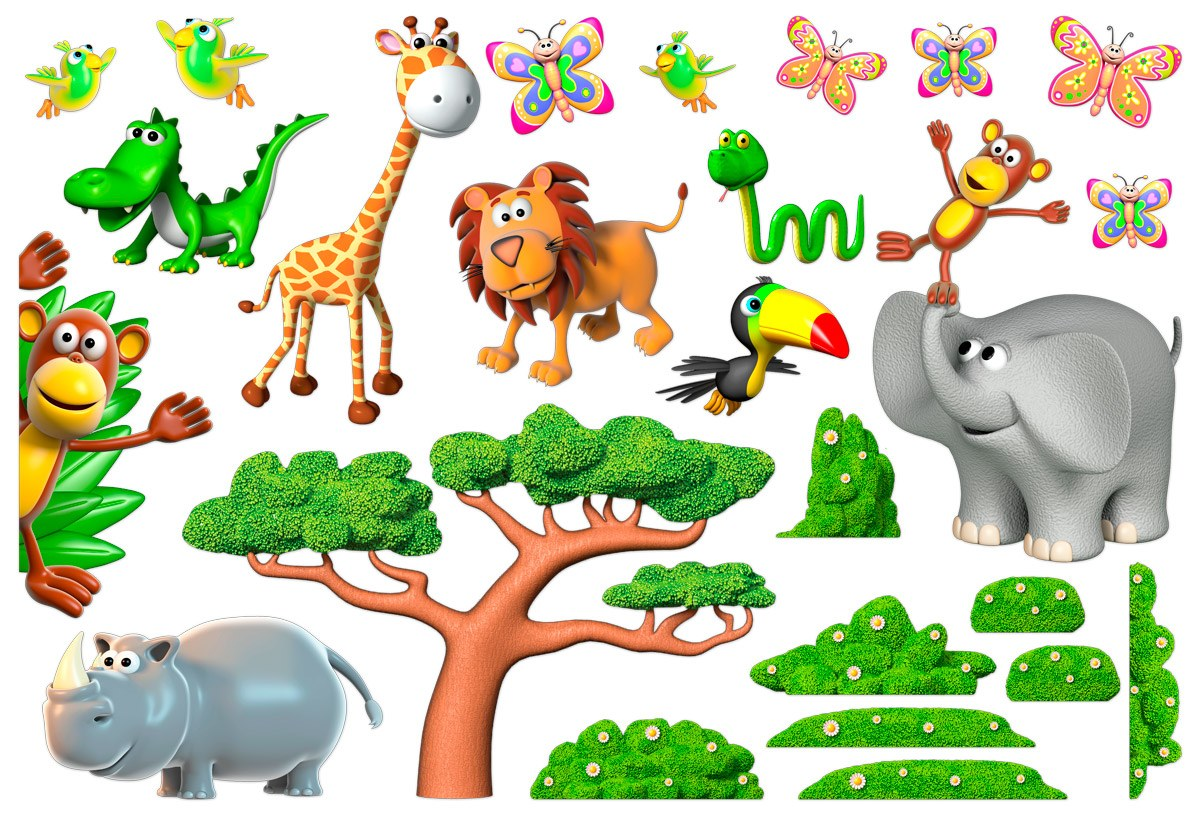 stickers pour enfants animaux de la jungle africaine 2. Black Bedroom Furniture Sets. Home Design Ideas