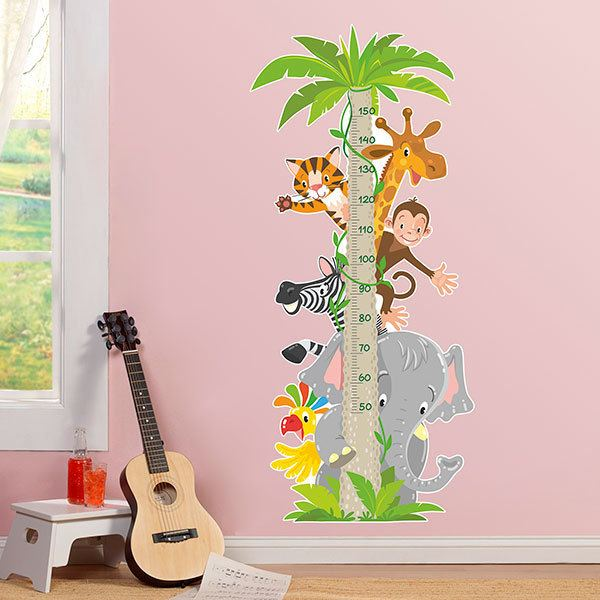 Stickers pour enfants: Toise Murale Animaux de la jungle