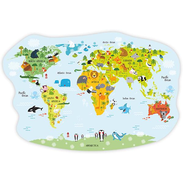 sticker mural enfant carte du monde des animaux gais. Black Bedroom Furniture Sets. Home Design Ideas