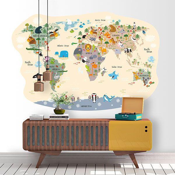 sticker muraux carte du monde enfants. Black Bedroom Furniture Sets. Home Design Ideas
