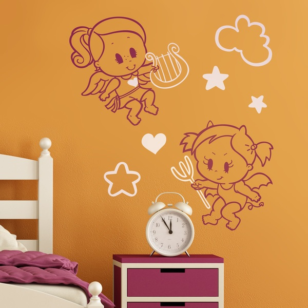 Stickers pour enfants: Multicolour Angel y Demonio