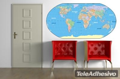 stickers muraux carte du monde. Black Bedroom Furniture Sets. Home Design Ideas