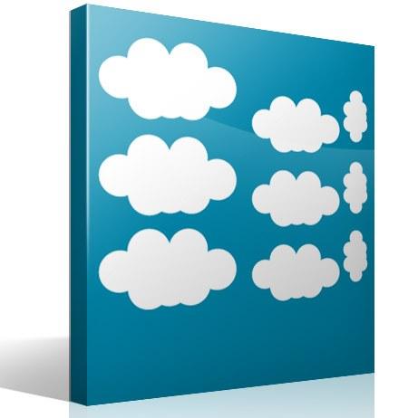 sticker mural enfant kit 9 nuages. Black Bedroom Furniture Sets. Home Design Ideas