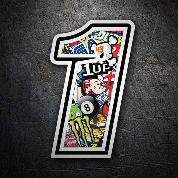 Autocollants: Numéro de course 1 Stickerbomb
