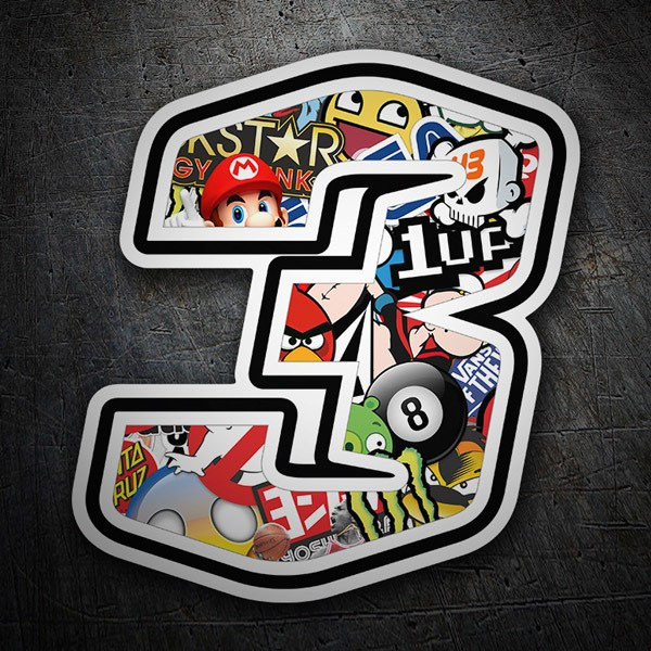 Autocollants: Numéro de course 3 Stickerbomb