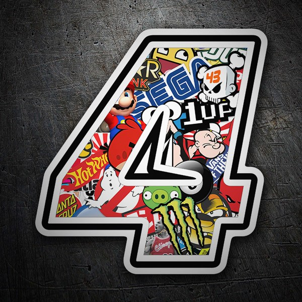 Autocollants: Numéro de course 4 Stickerbomb