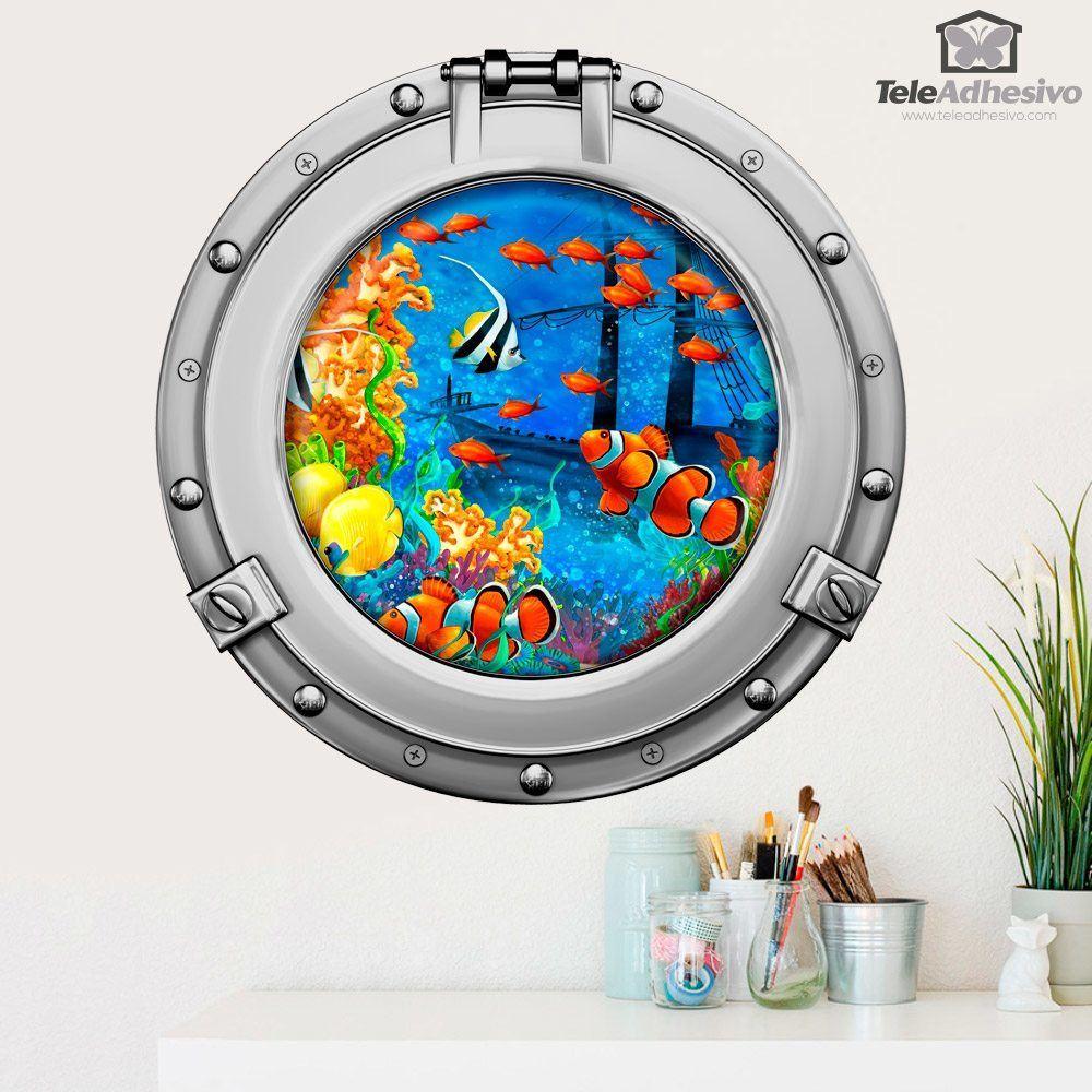 Stickers muraux: Les poissons clown et naufrage