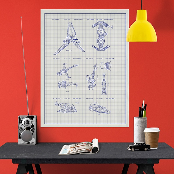 poster vinyle adh sif naves star wars brevet blanc. Black Bedroom Furniture Sets. Home Design Ideas
