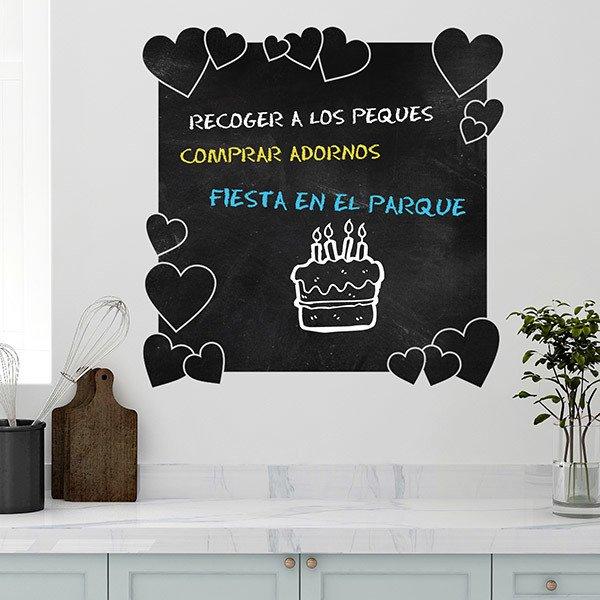 Stickers Pour Enfants: Tableau Noir Les Coeurs