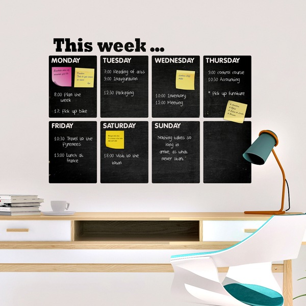 Stickers muraux: Chalkboard Organisateur hebdomadaire anglais