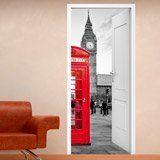 Stickers muraux: Porte ouverte cabine Londres 3