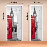 Stickers muraux: Porte ouverte cabine Londres 4