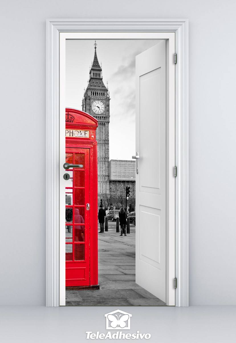 Stickers muraux: Porte ouverte cabine Londres