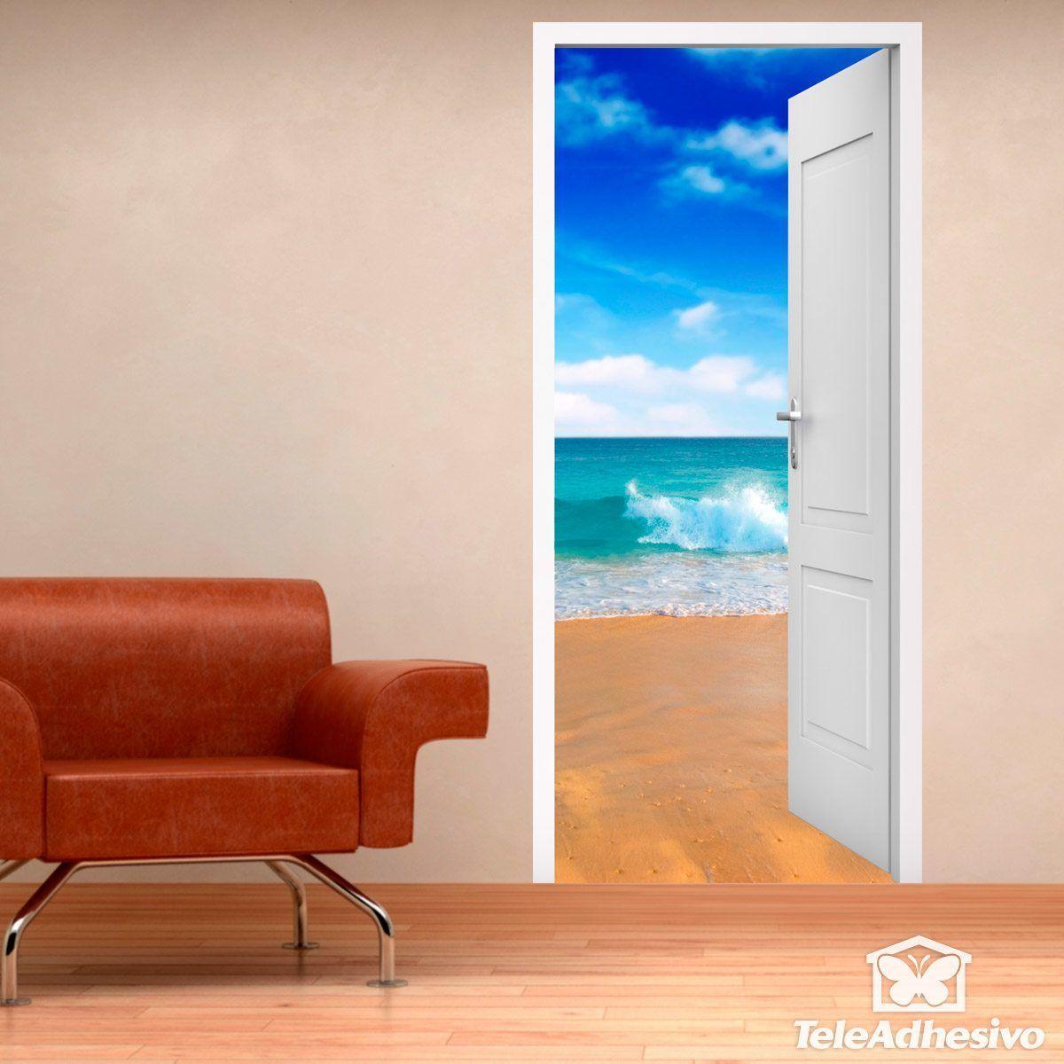 Porte ouverte plage et le ciel for Plage stickers muraux
