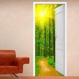 Stickers muraux: Porte ouverte chemin dans les bois 3