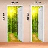 Stickers muraux: Porte ouverte chemin dans les bois 4