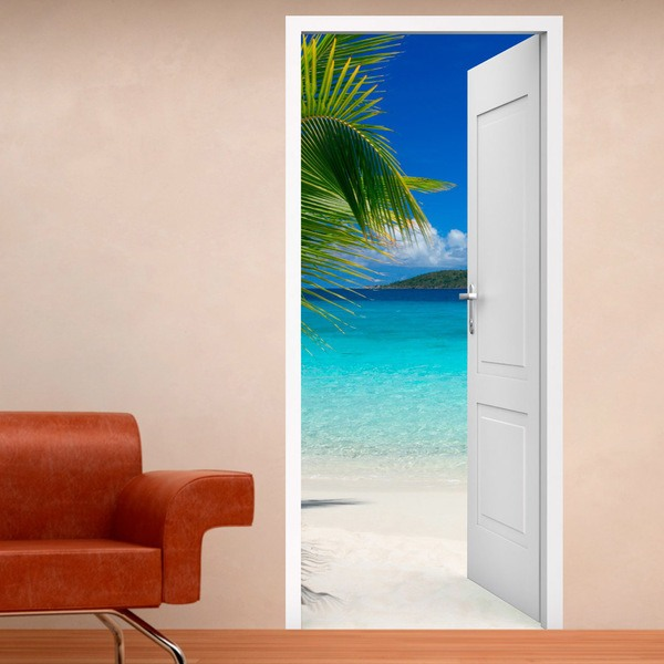 porte ouverte plage et palmier. Black Bedroom Furniture Sets. Home Design Ideas
