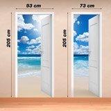 Stickers muraux: Porte ouverte et le ciel avec des nuages 4