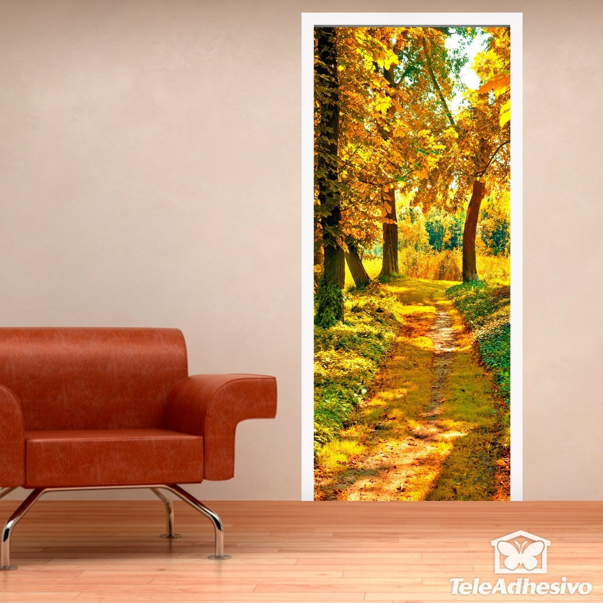 porte chemin dans une for t en automne. Black Bedroom Furniture Sets. Home Design Ideas