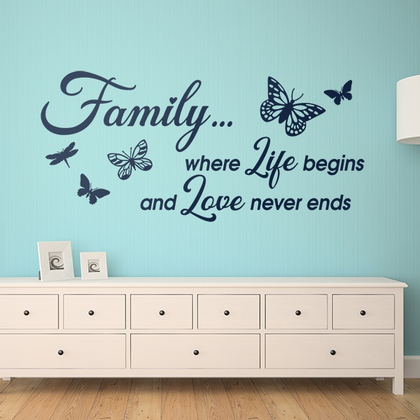 Stickers muraux: Family is where life begins