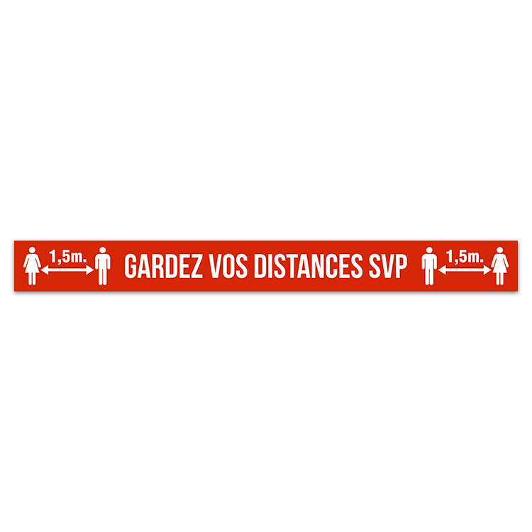 Autocollants: Sticker Sol Gardez Distances SVP 3