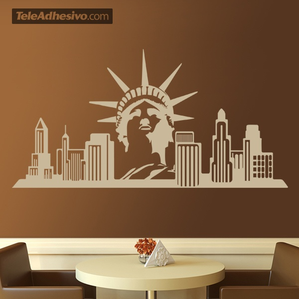stickers muraux new york skyline. Black Bedroom Furniture Sets. Home Design Ideas