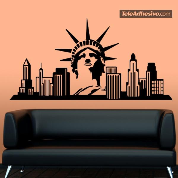 stickers muraux new york skyline. Black Bedroom Furniture Sets. Home Design Ideas