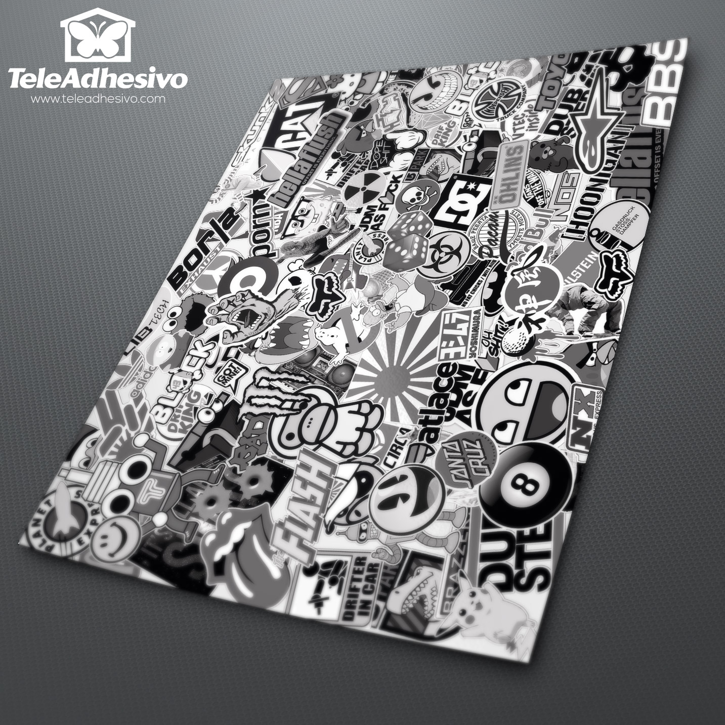 Stickerbomb Noir Et Blanc Webstickersmuraux Com