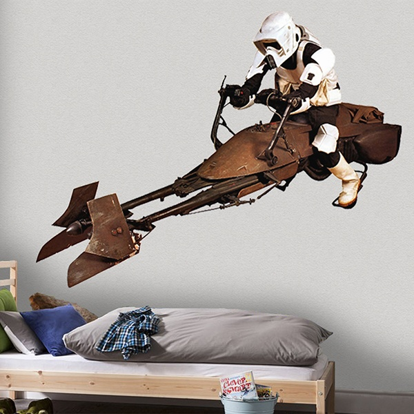Stickers muraux: Scout trooper sur speeder bike